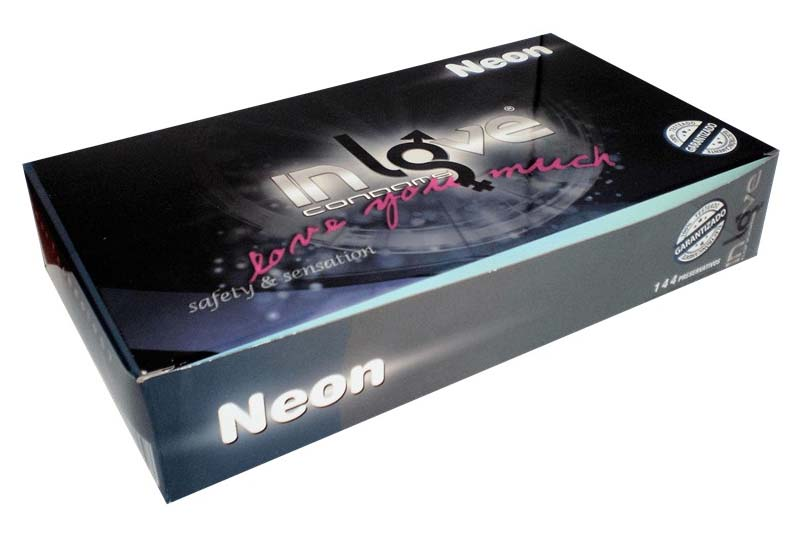 IN LOVE CONDOMS Natural Neon - Glow in the Dark - 144 Préservatifs
