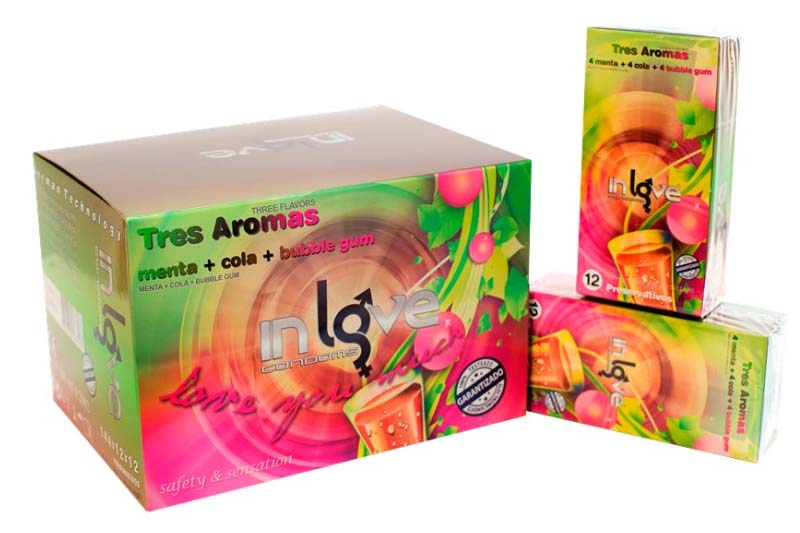 IN LOVE CONDOMS 3 Arômes (Mint, Cola and Bubble Gum) 12 Boxes of 12 Préservatifs