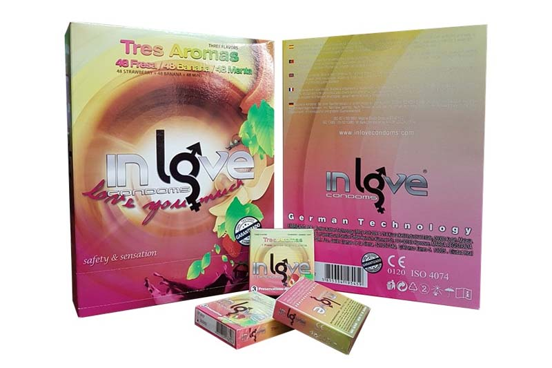 IN LOVE CONDOMS 3 Arômes (fraise, banane and Mint) 48 boxes of 3 Préservatifs
