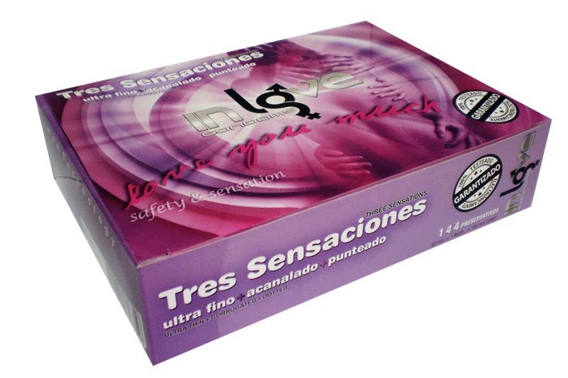 IN LOVE CONDOMS 3 Sensations (48 Ultra Fine, 48 Fluted et 48 Dotted) Préservatifs